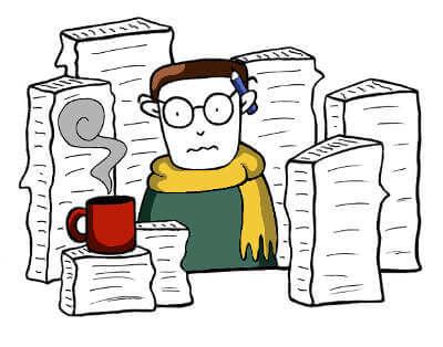 Fred ist umringt von Papierkram