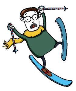 Fred fährt unbeholfen Ski