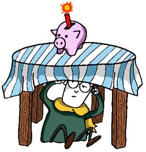 Fred sprengt sein Sparschwein