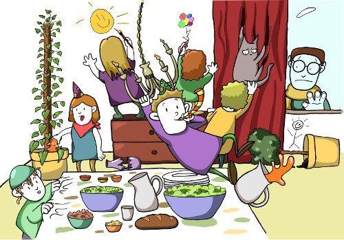 Kinder feiern in Freds Wohnzimmer eine wilde Party